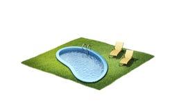 3d两个懒人和水池的例证 免版税库存图片