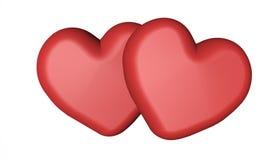 3d两愉快的st情人节卡片大模型模板的红心 免版税库存图片