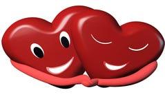 3d两拥抱为愉快的st情人节卡片大模型的红心 库存图片