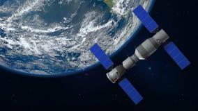 3D中国空间站围绕行星地球旋转的Tiangong的模型 图库摄影