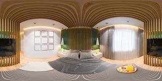 3D主卧室的无缝的360全景的例证在一个私有房子,乡间别墅里 皇族释放例证