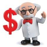 3d举行美元货币符号的疯狂的科学家字符 免版税库存图片