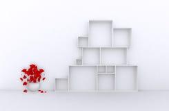 3d了不起的套与花,白色箱子的销售框架待售(物品、辅助部件、材料等等 ) 3d回报 图库摄影
