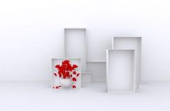 3d了不起的套与花,白色箱子的销售框架待售(物品、辅助部件、材料等等 ) 2 3d回报 免版税库存照片