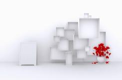 3d了不起的套与花,白色箱子的销售框架待售(物品、辅助部件、材料等等 ) 3 3d回报 图库摄影