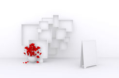 3d了不起的套与花,白色箱子的销售框架待售(物品、辅助部件、材料等等 ) 4 3d回报 免版税图库摄影