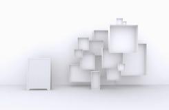 3d了不起的套框架,白色箱子待售(物品、辅助部件、材料等等 ) 免版税图库摄影