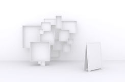 3d了不起的套框架,白色箱子待售(物品、辅助部件、材料等等 ) 2 免版税库存图片