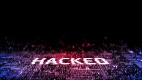 3D互联网网络攻击翻译  与小故障作用的被乱砍的文本对二进制数据背景小河  图库摄影