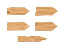 3d五个木箭头翻译与针对性的末端的在白色背景 库存图片