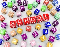 3d五颜六色的字母表块立方体词学校 免版税图库摄影