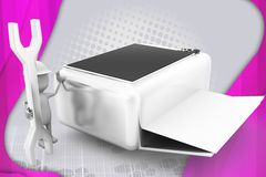 3d人修理打印机例证 免版税库存图片