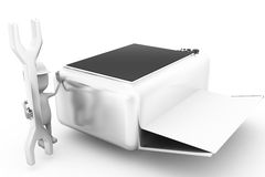 3d人修理打印机概念 库存照片