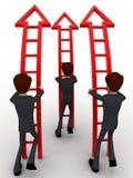 3d人准备爬上箭头台阶概念 免版税库存照片