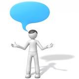 3d人和空白的讲话泡影 库存图片