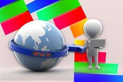 3d人地球网例证 免版税图库摄影