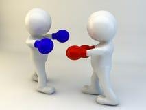 3D人拳击争斗 库存图片