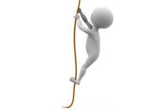 3d人攀登绳索概念 免版税库存照片