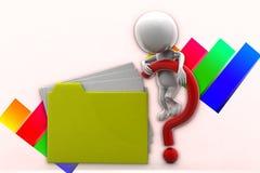 3d人文件夹问号例证 免版税库存照片