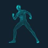 3D人模型  多角形设计 设计几何 企业、科学技术传染媒介例证 免版税库存照片