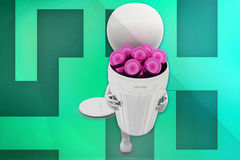 3D人球回收站 免版税库存照片