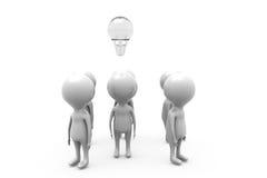 3d人电灯泡概念 免版税库存图片
