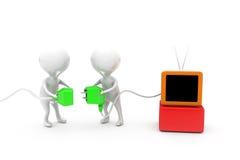 3d人电视插座概念 库存图片