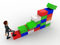 3d人立方体概念攀登台阶  免版税库存照片