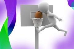 3d人篮子球例证 免版税库存照片
