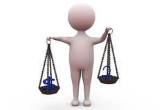 3d人美元和欧洲平衡概念 免版税库存照片