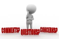3d人评论、关心、问题和怨言 免版税图库摄影