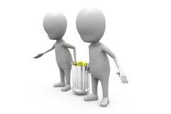 3d人运载垃圾箱概念 免版税图库摄影