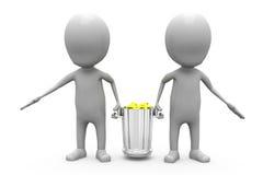 3d人运载垃圾箱概念 库存照片