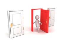 3d人通过红色门做正确的挑选步行 免版税库存照片