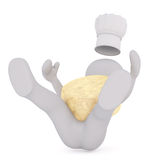 3D人遭受一个可怕的秋天用大乳酪 免版税库存图片