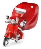 3d人问题白色 交付礼物的圣诞老人乘摩托车 库存照片