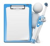 3d人问题白色 有电牙刷和空白的夹子的牙医 库存照片