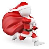 3d人问题白色 跑与大袋子的圣诞老人有很多礼物 库存图片