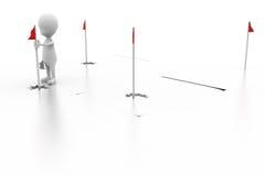 3d人高尔夫球下垂概念 免版税库存图片