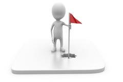 3d人高尔夫球旗子概念 免版税库存图片