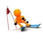 3d人:冬天障碍滑雪Skiier 库存照片
