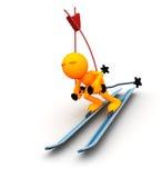 3d人:冬天障碍滑雪Skiier 库存图片