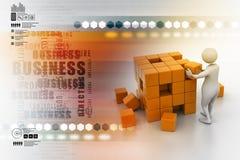 3d人们-人,推挤立方体的人 免版税库存图片