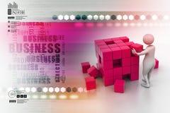 3d人们-人,推挤立方体的人 免版税库存照片