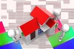3d人建筑壁画例证 图库摄影