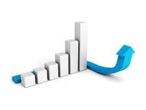 3d企业图表有蓝色arrowon白色背景 免版税库存图片