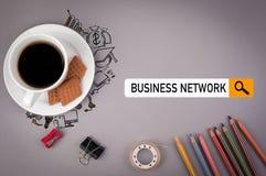3d企业概念查出网络白色 有题字的灰色办公桌 图库摄影
