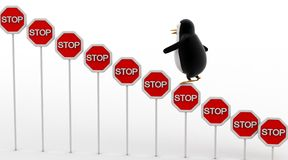 3d企鹅上升的停车牌上概念 库存图片