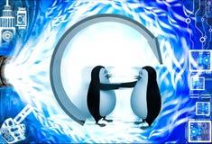 3d企鹅握手的提议手下回收箭头例证 免版税库存照片