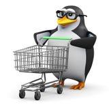 3d企鹅有一辆空的购物台车 免版税库存照片